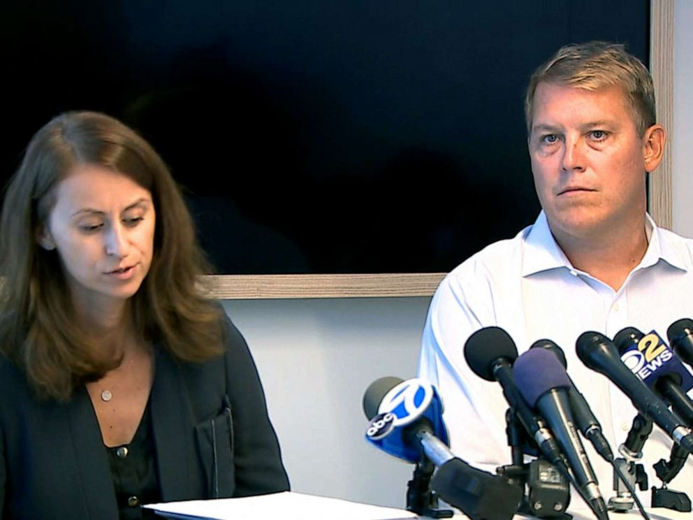 PHOTO: Scott Hapgood, a banker at UBS in New York City, holds a press conference with his attorney, Juliya Arbisman, to address the manslaughter charge against him in Anguilla.