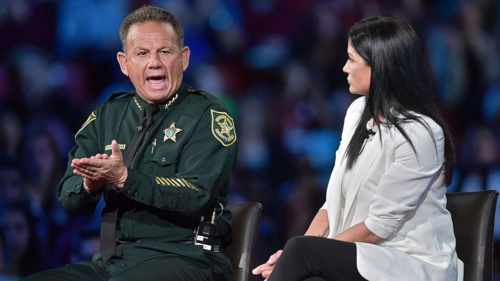 Broward Sheriff Scott Israel makes a point to NRA Spokesperson Dana Loesch during a CNN town hall meeting, Feb. 21, 2018, at the BB&T Center in Sunrise, Fla.