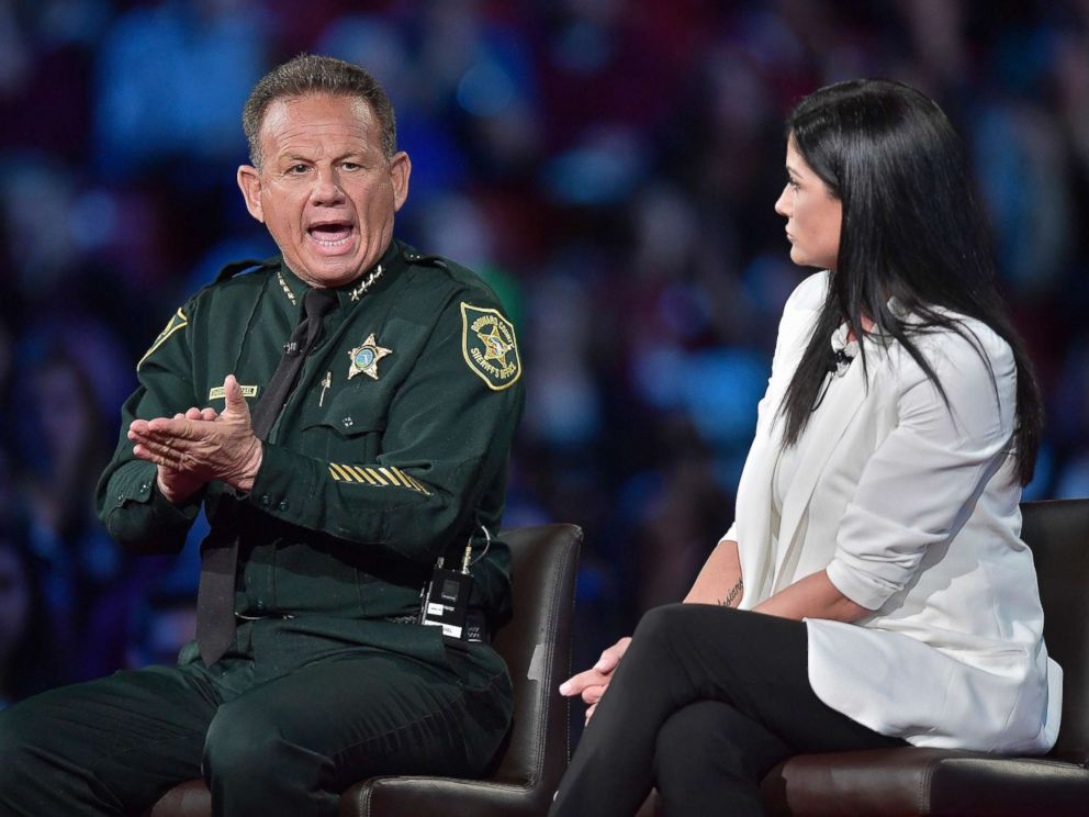 PHOTO: Broward Sheriff Scott Israel makes a point to NRA Spokesperson Dana Loesch during a CNN town hall meeting, Feb. 21, 2018, at the BB&T Center in Sunrise, Fla.