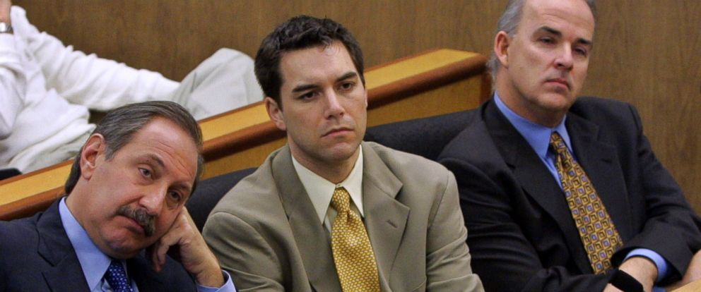 PHOTO:Scott Peterson and defense attorney Mark Geragos, left, listen during prosecution rebuttal to the defense closing arguments in Petersons capital murder trial November 3, 2004 in Redwood City, Calif.