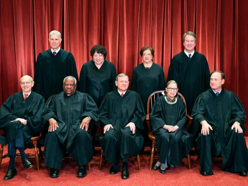 PHOTO: Justices of the U.S. Supreme Court pose for their official photo at the Supreme Court in Washington, D.C., Nov. 30, 2018.