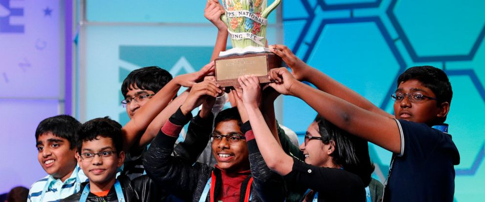 PHOTO: The eight co-champions celebrate after winning the Scripps National Spelling Bee, Friday, May 31, 2019, in Oxon Hill, Md. The spelling bee ended in unprecedented 8-way championship tie after organizers ran out of challenging words.