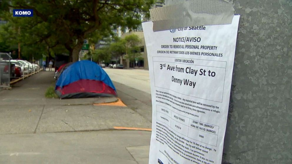 PHOTO: Seattle city officials have begun clearing homeless settlements throughout the city.