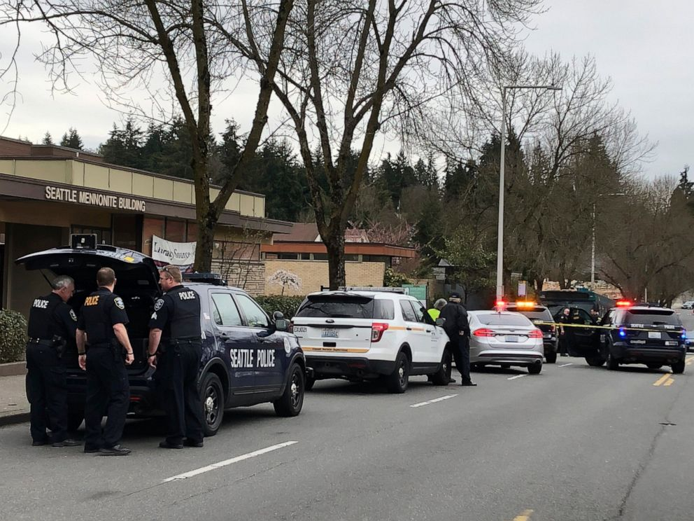 PHOTO: Seattle police work at the scene of a shooting in Seattle on Wednesday, March 27, 2019. Four people including a metro bus driver were shot Wednesday afternoon, and one person has been detained, police said.