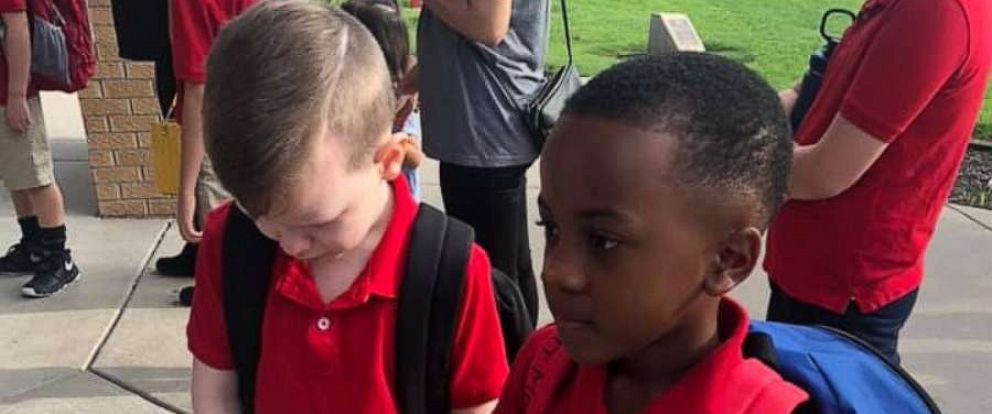 PHOTO: Christian Moore, 8, befriended Connor Crites, 8, on the first day of second grade at Minneha Elementary in Wichita, Kansas. Connor, who has autism, said the gesture made him happy.