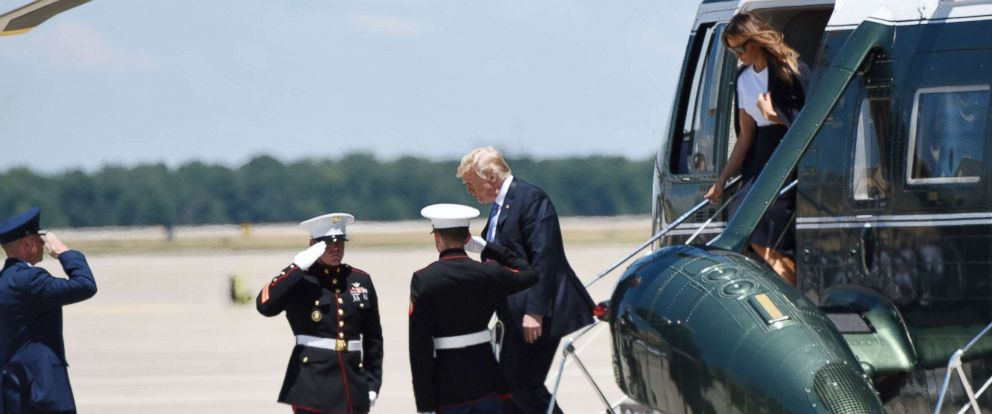 PHOTO: President Donald Trump and First Lady Melania Trump arrive to pay their respects to fallen Secret Service Special Agent Nole Edward Remagen who died after suffering a stroke while on duty in Scotland, on July 18, 2018 at Joint Base Andrews, Md.
