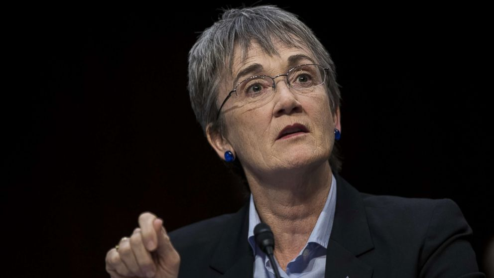 Heather Wilson, Secretary of the U.S. Air Force, testifies during a Senate Judiciary Committee hearing concerning firearm accessory regulation and enforcing federal and state reporting to the National Instant Criminal Background Check System (NICS) on Capitol Hill, Dec. 6, 2017 in Washington.