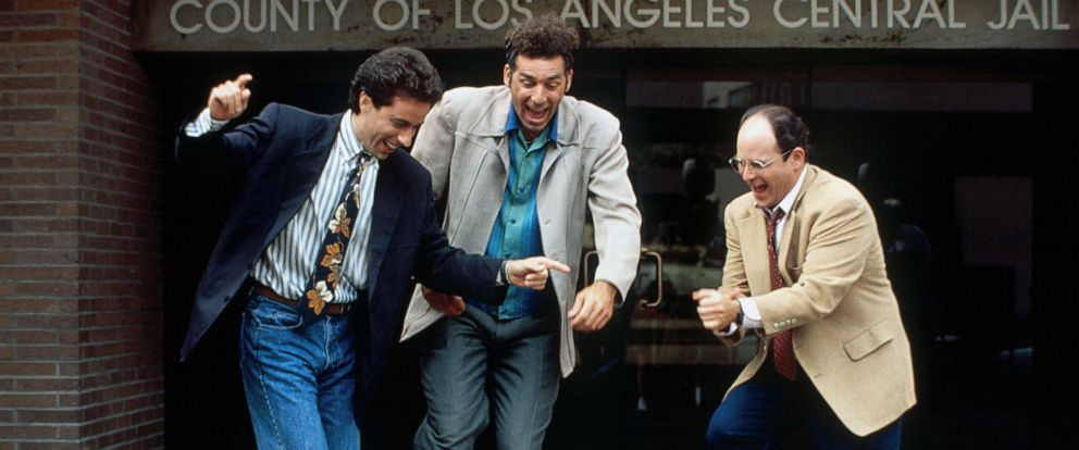 """PHOTO: Jerry Seinfeld, as Jerry Seinfeld, Michael Richards, as Cosmo Kramer, and Jason Alexander, as George Costanza, in a scene from the series, """"Seinfeld."""""""