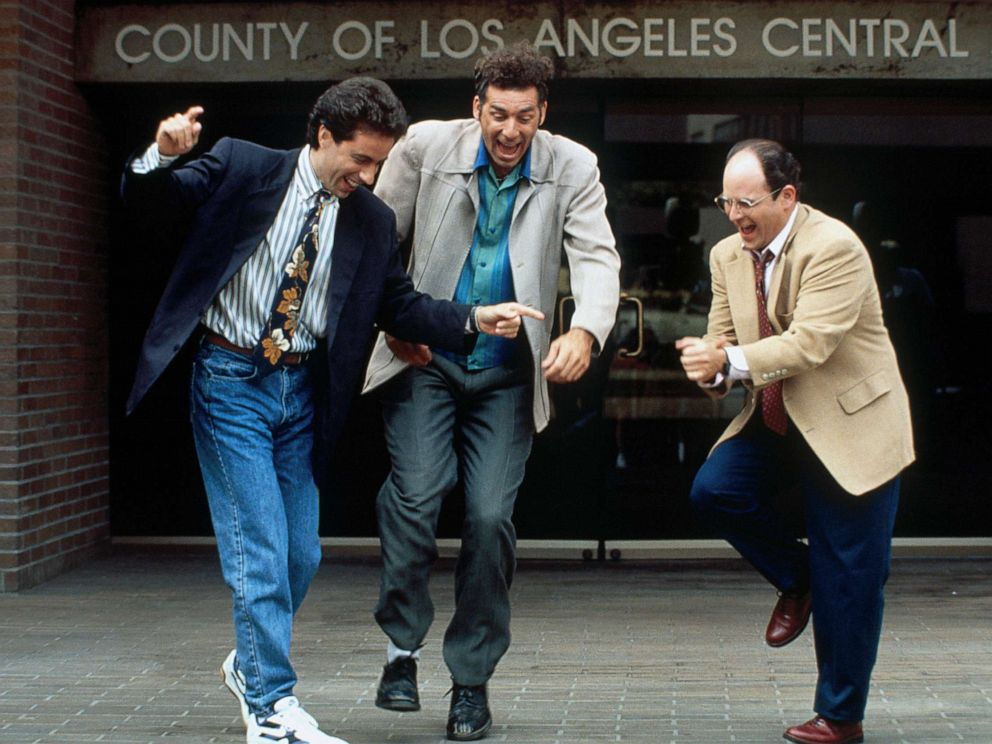 PHOTO: Jerry Seinfeld, as Jerry Seinfeld, Michael Richards, as Cosmo Kramer, and Jason Alexander, as George Costanza, in a scene from the series, Seinfeld.