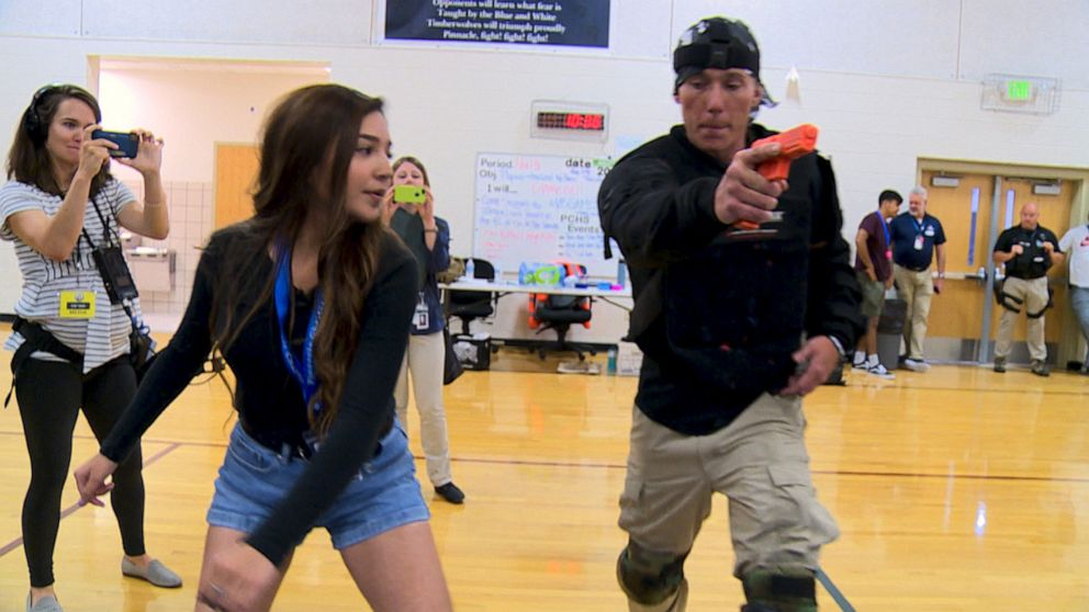 PHOTO: Students at Pinnacle Charter School learn self-defense and how to incapacitate a gunman during active shooter training.