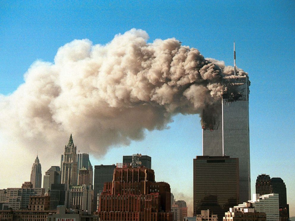 PHOTO: Smoke pours from the twin towers of the World Trade Center after they were hit by two hijacked airliners in a terrorist attack Sept. 11, 2001 in New York.