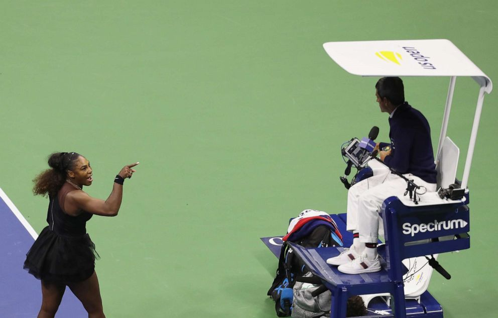 PHOTO: Serena Williams of the United States argues with umpire Carlos Ramos during her Womens Singles finals match against Naomi Osaka of Japan on Day Thirteen of the 2018 US Open at the USTA Billie Jean King National Tennis Center on September 8, 2018.