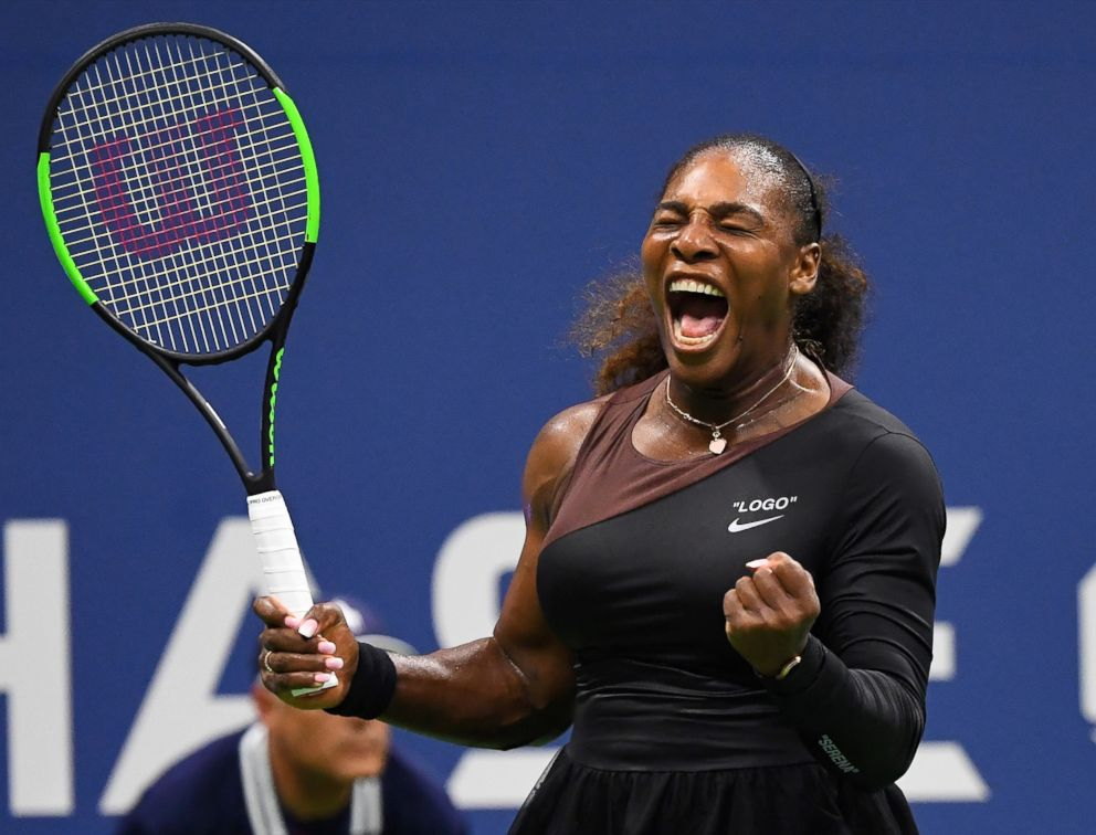 PHOTO: Serena Williams celebrates a victory against Magda Linette of Poland in a first round match on day one of the 2018 US Open Tennis Tournament in New York, August 27, 2018.
