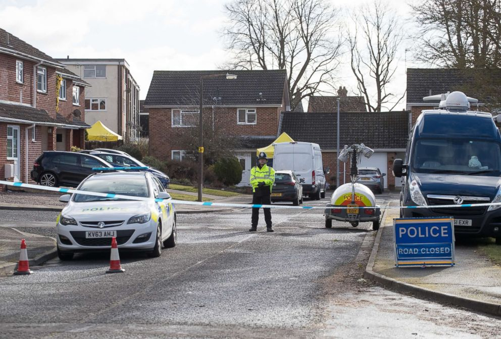 PHOTO: Police officers search the home of Sergei Skripal in Salisbury, who was found critically ill on a bench with his daughter on March 4, 2018, and were taken to hospital sparking a major incident, in Wiltshire, England, March 8, 2018.