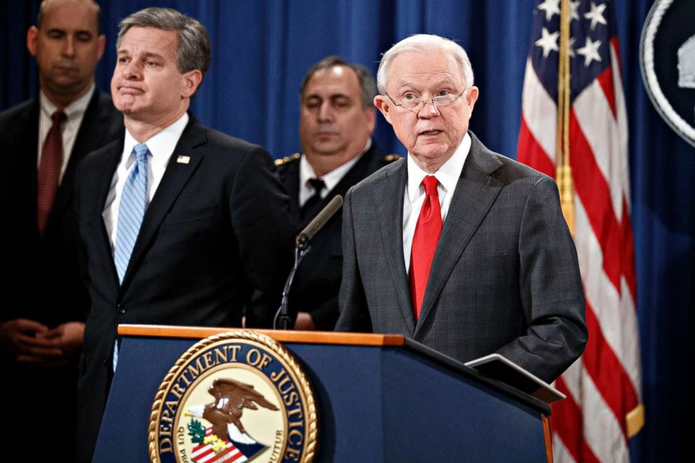 PHOTO: Attorney General Jeff Sessions delivers remarks on the apprehension and arrest of mail bomb suspect Cesar Sayoc jr. during a press conference at the Department of Justice in Washington, Oct. 2018.