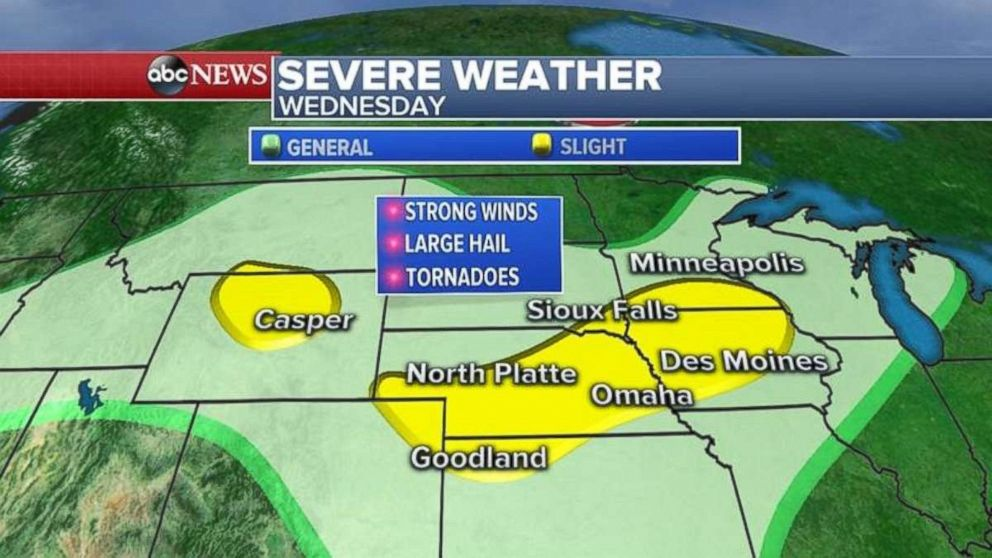 Severe weather likely across northern US for next several days - ABC