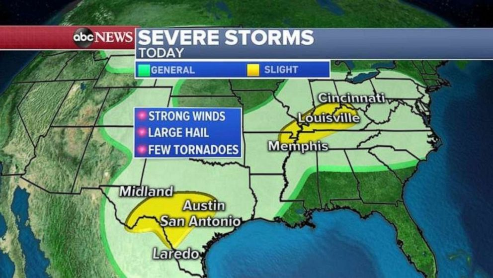 PHOTO: Severe alerts are in place in both Texas and the Ohio River Valley on Thursday.