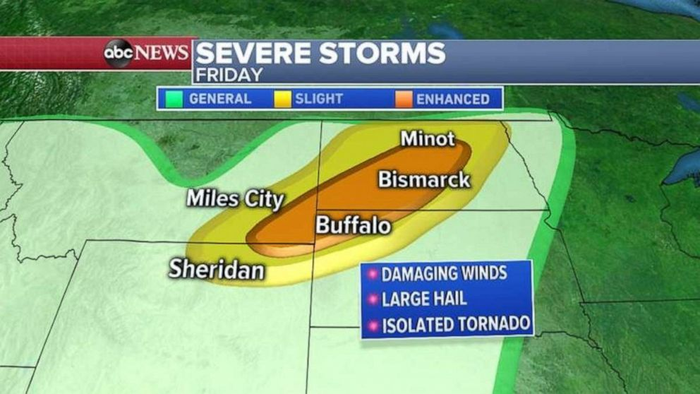 PHOTO: Severe weather is possible in the Northern Plains on Friday.