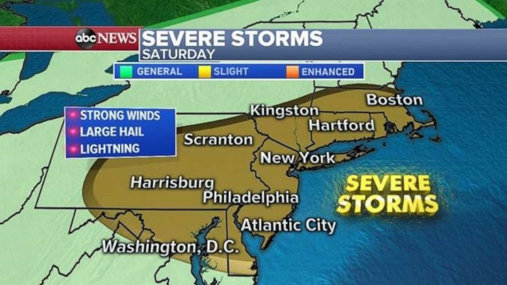 PHOTO: Strong winds, large hail and lightning are possible from Washington, D.C., to Boston on Saturday afternoon.