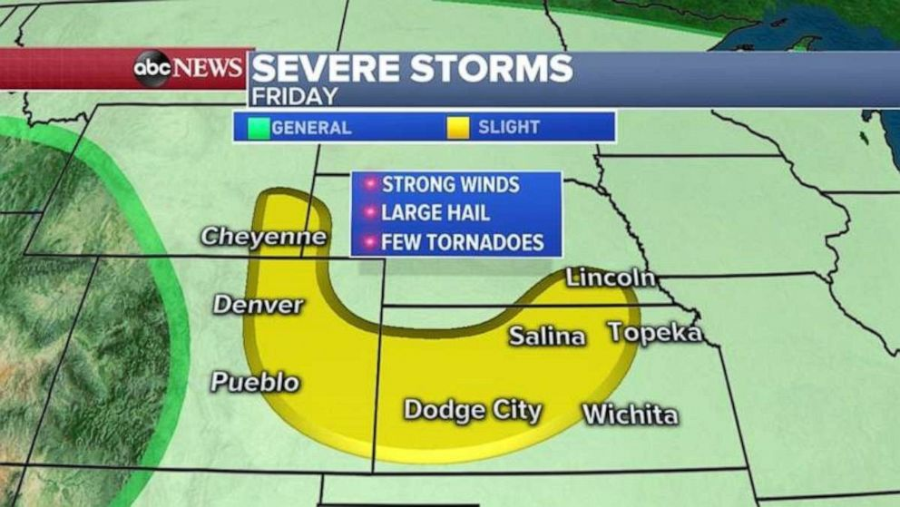 PHOTO: The highest threat for severe weather on Friday comes in the Plains.