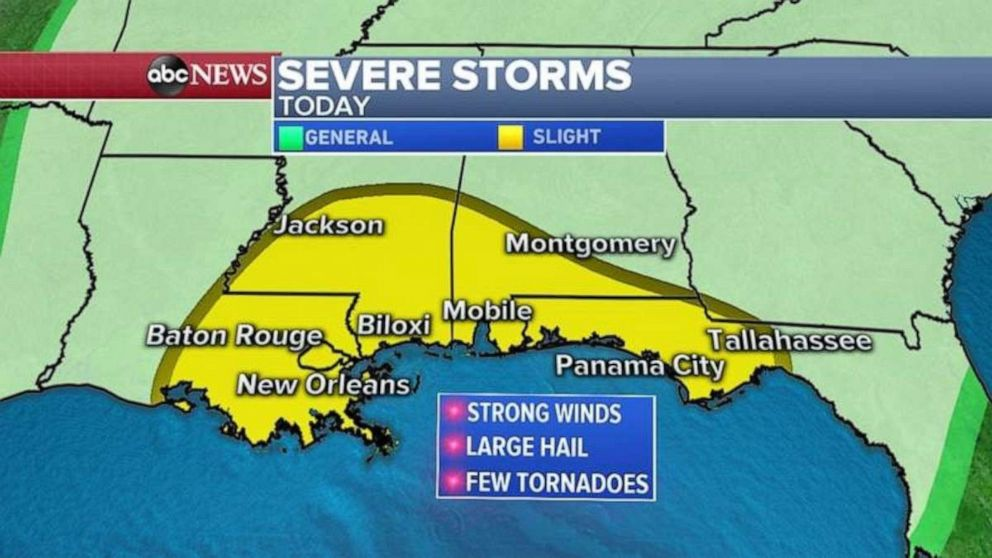 PHOTO: On Thursday, heavy storms are possible along the entire Gulf Coast.