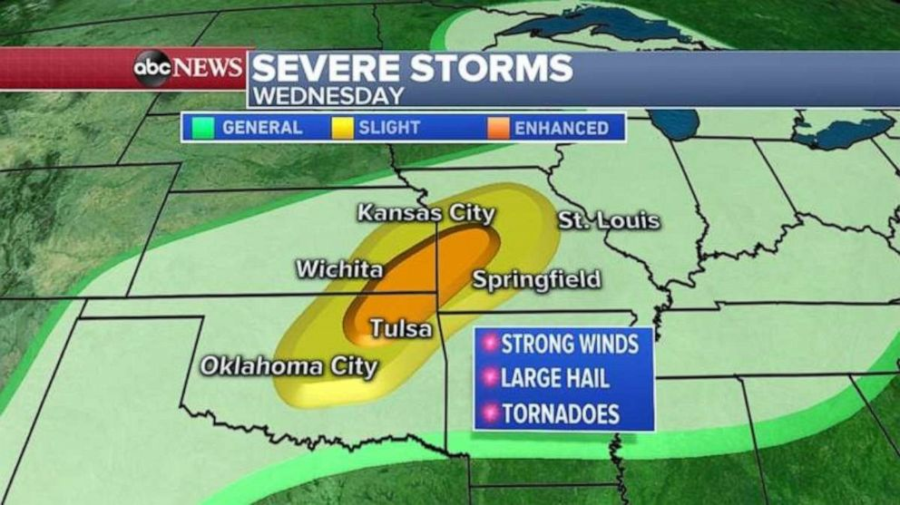 PHOTO: The threat for severe weather remains in eastern Oklahoma, southeast Kansas and western Missouri on Wednesday.