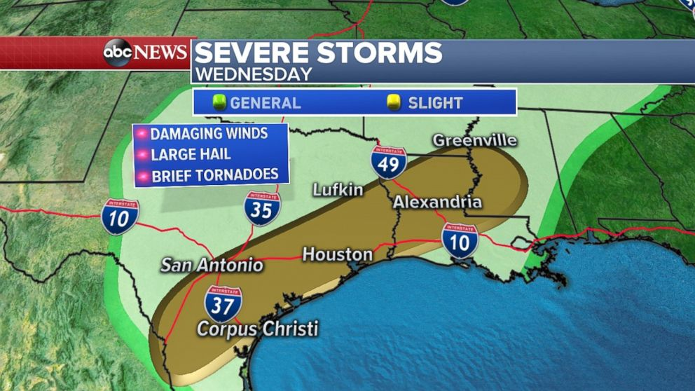 The major cities in Texas will be threatened by damaging winds and large hail on Wednesday.