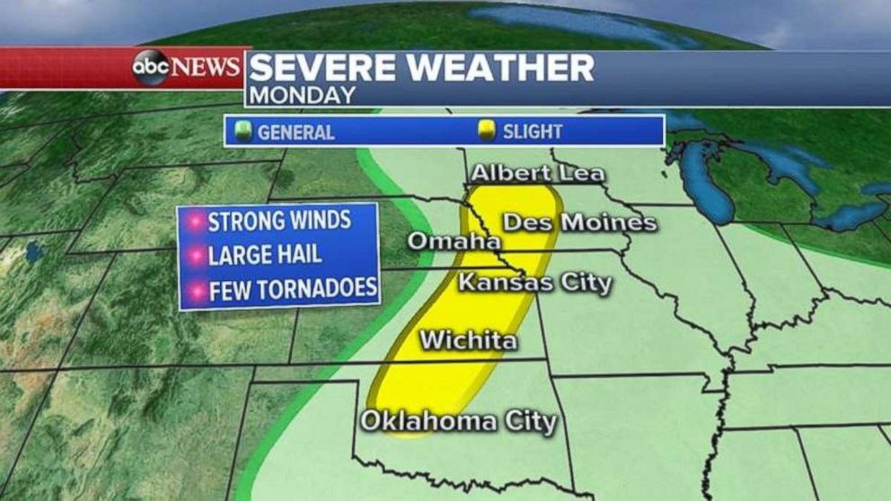 A threat for severe weather exists from central Oklahoma north to Iowa on Monday.  Wildfires continue to burn as West hit with near-record heat severe storms abc mo 20180611 hpEmbed 16x9 992