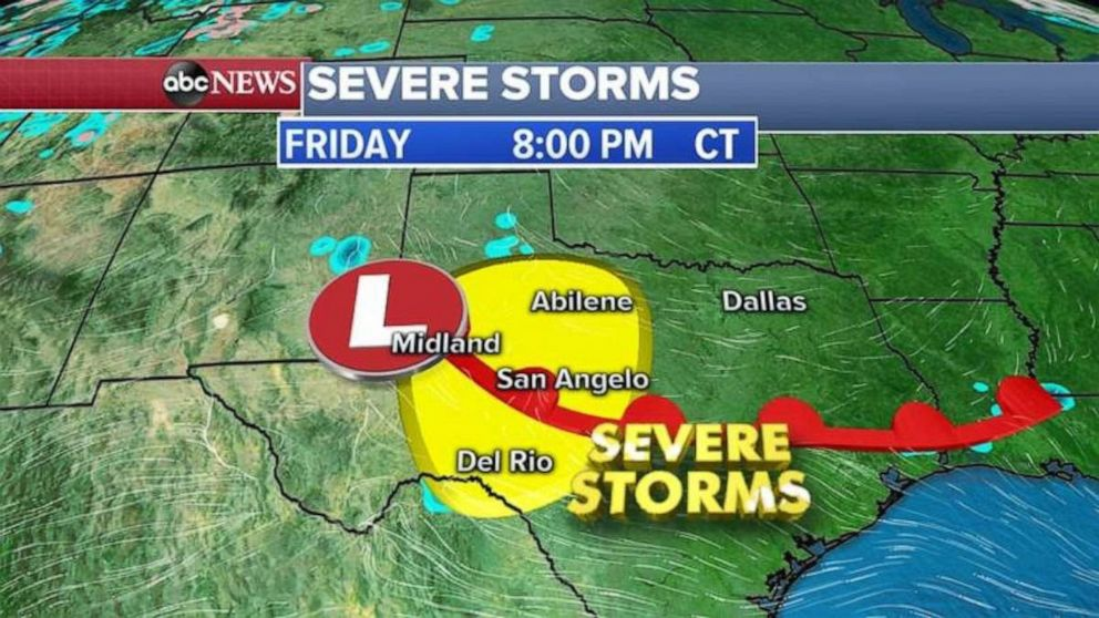 Severe storms are possible in central Texas on Friday night.