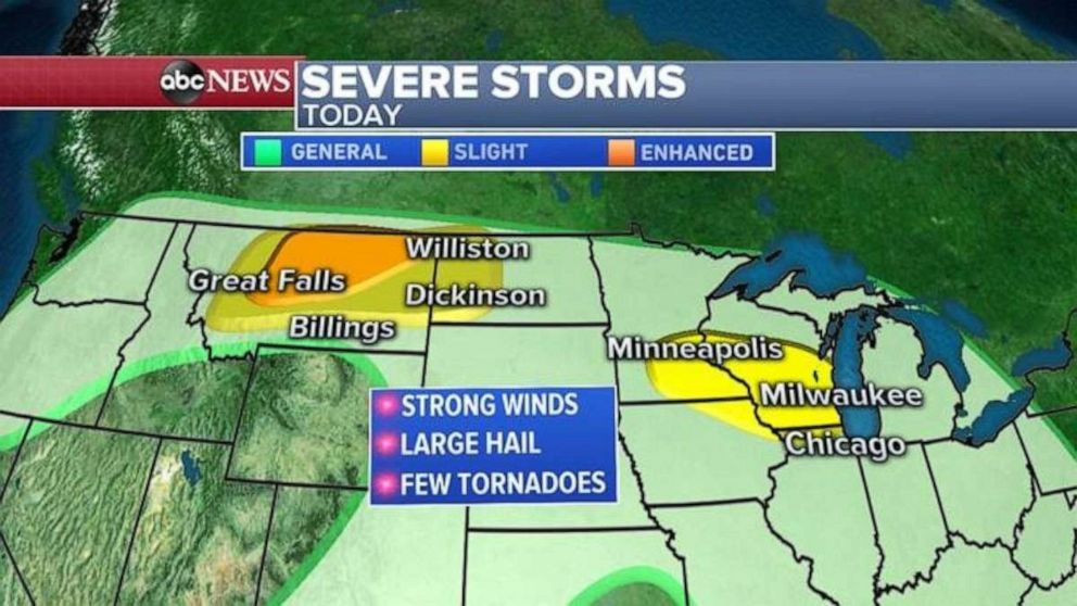 PHOTO: Severe weather is possible across the northern U.S., especially in Montana and northwest of Chicago.