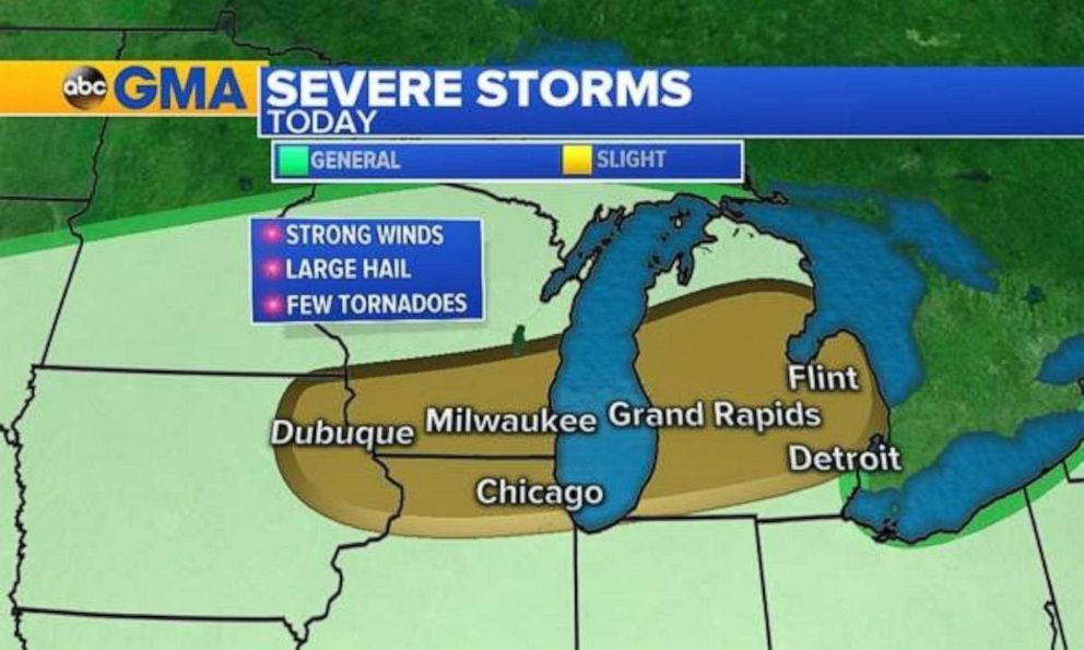 PHOTO: Severe storms are again possible in the Upper Midwest on Saturday.