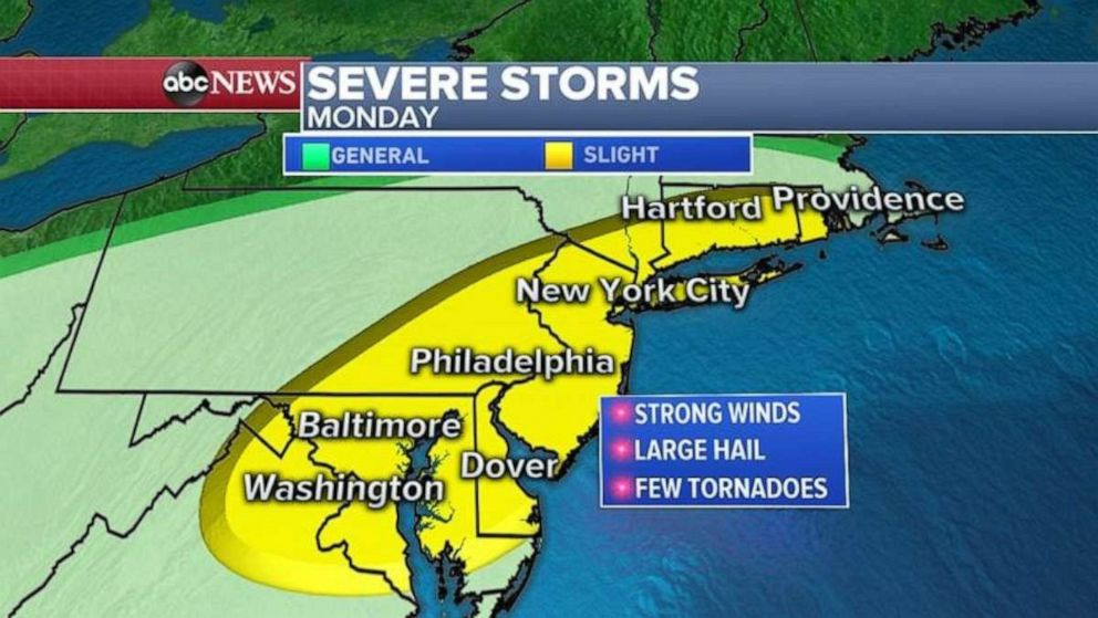 PHOTO: Strong winds and large hail are possible from the Mid-Atlantic all the way up to Rhode Island on Monday.