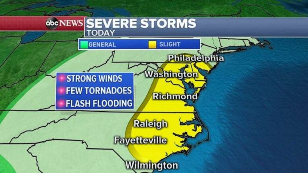 PHOTO: The threat for severe storms is most concerning from Wilmington, N.C., to Philadelphia.
