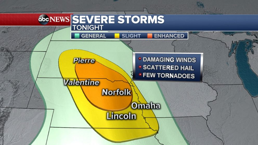 Enhanced severe weather threat in the Central Plains on Wednesday night.