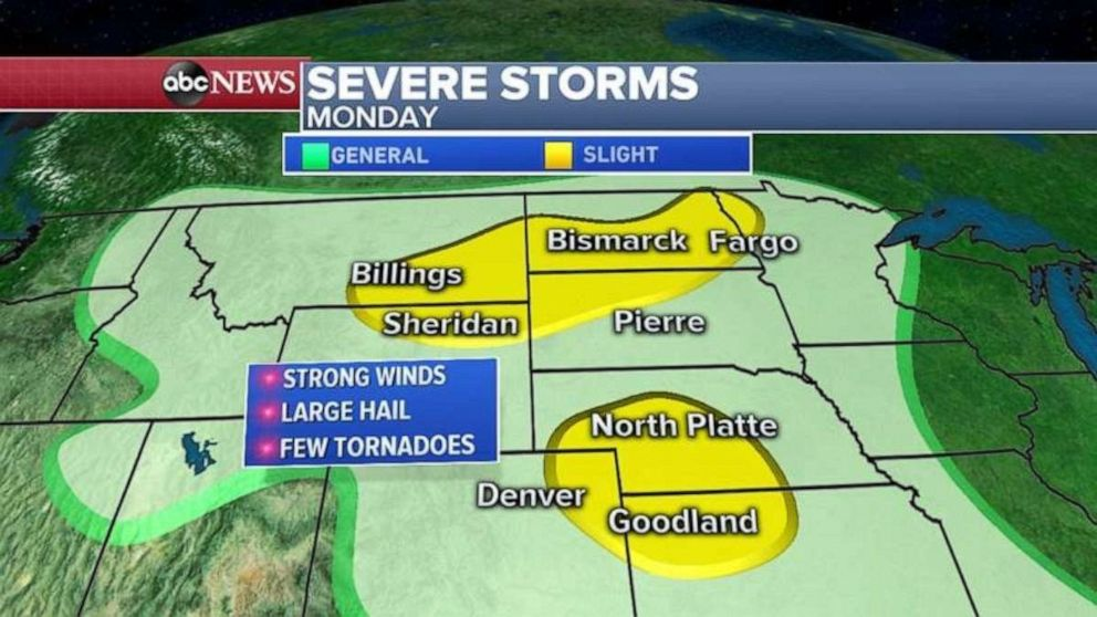 PHOTO: Severe storms are possible in the Northern Plains and Rockies on Monday.