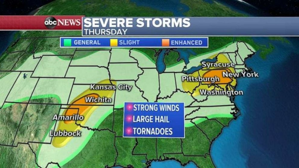 PHOTO: The threat for severe weather exists in the Southern Plains and Northeast on Thursday.