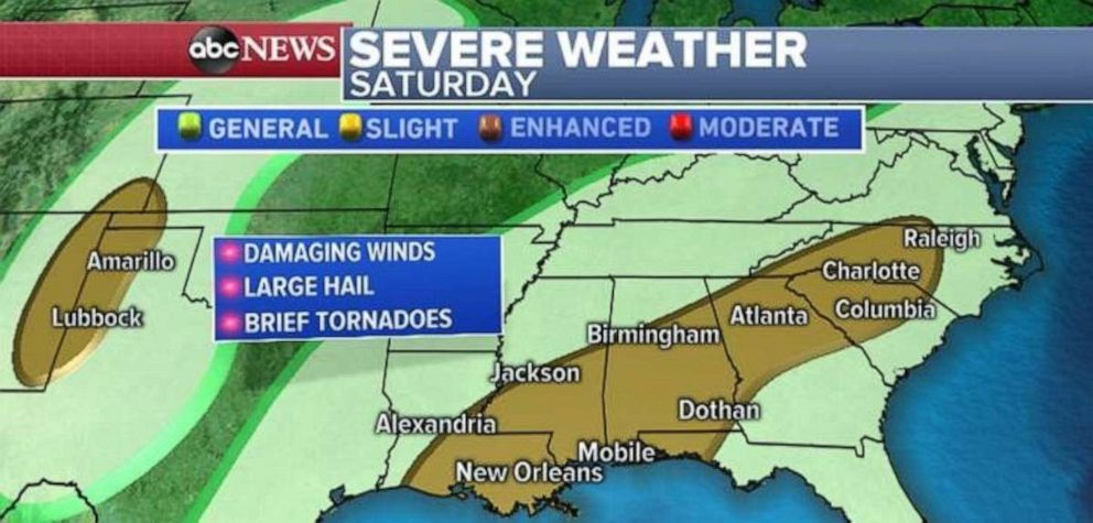 driving  street PHOTO: The severe threat includes damaging winds, large hail and brief tornadoes in the Southeast.