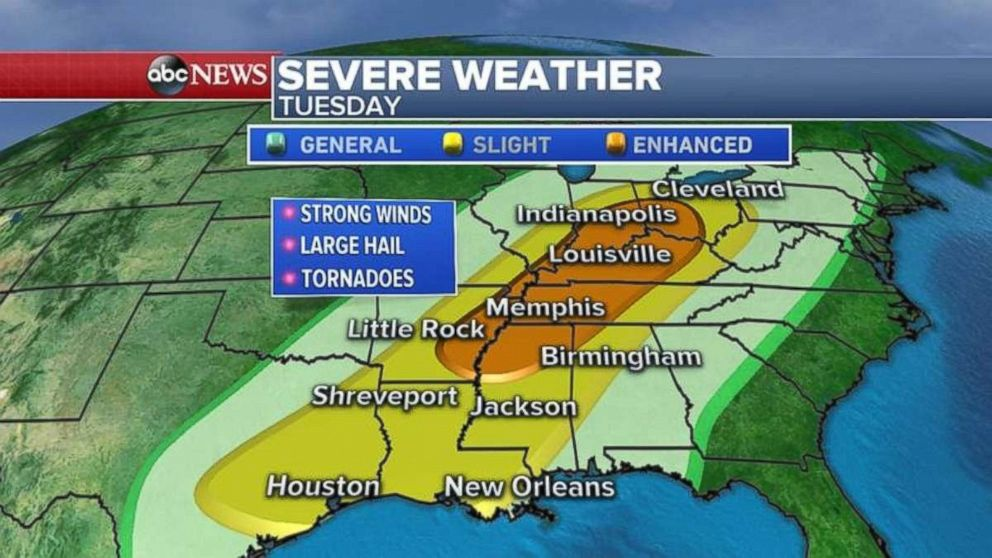 Two rounds of thunderstorms Tuesday, severe threat — TIMELINE