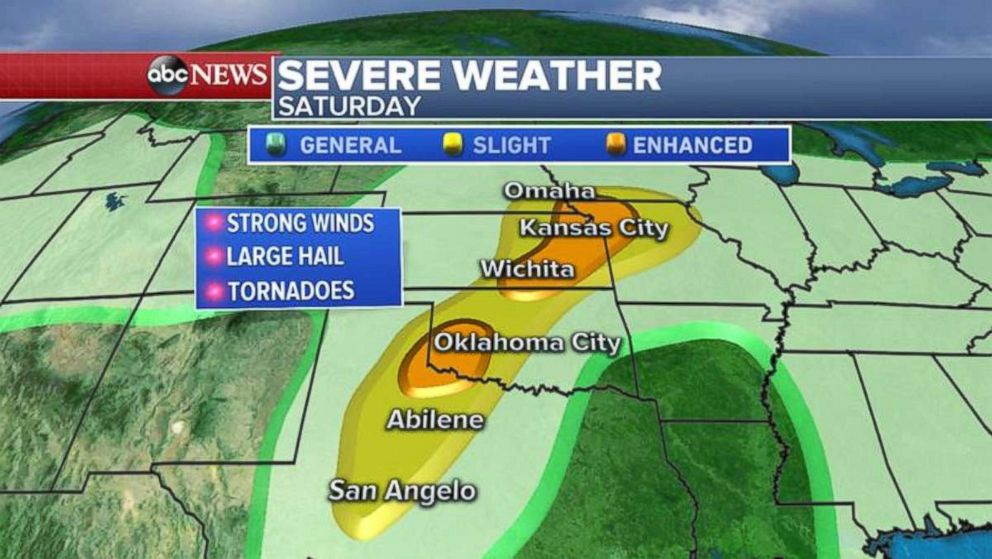 Strong winds, large hail and tornadoes are possible through heavily populated cities in the Plains.