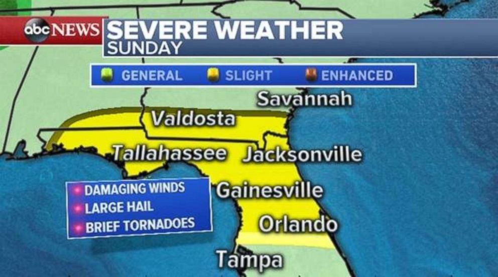Severe Weather Is Possible Throughout Northern Florida And The Panhandle On Sunday