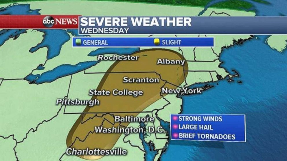 Theres a slight risk for strong winds, large hail and brief tornadoes inland from I-95.