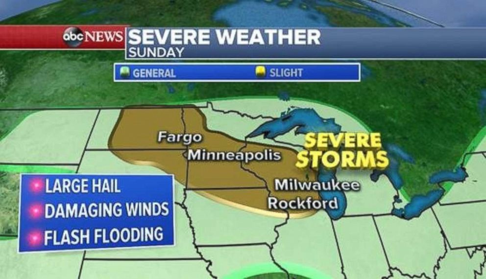 Severe weather is possible across the Dakotas, Minnesota and Wisconsin on Sunday.