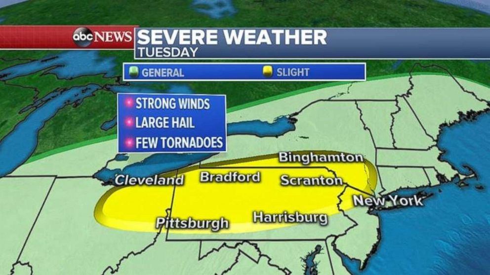 Severe weather is possible from northeast Ohio throughout Pennsylvania and the Lower Hudson Valley on Tuesday.