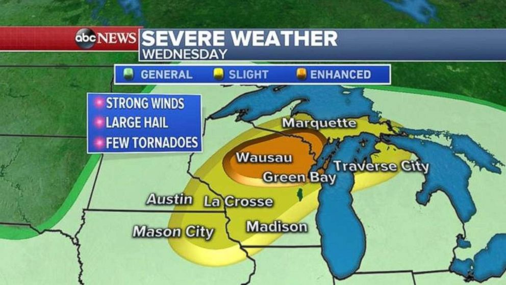 PHOTO: Severe weather is possible through much of Wisconsin and Michigans Upper Peninsula on Wednesday.