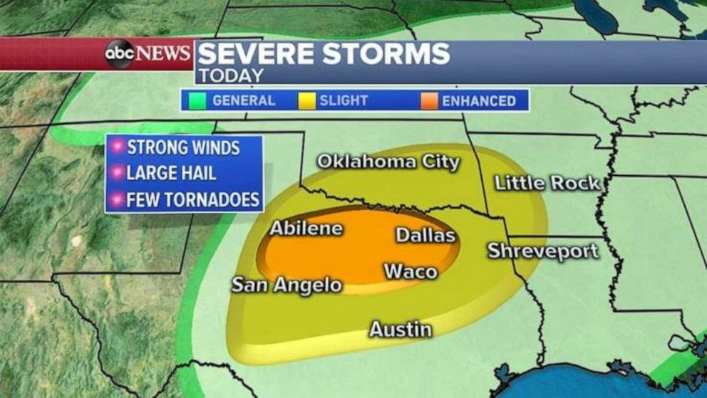 PHOTO: Strong winds, hail and possible tornadoes pose a threat for central Texas and southern Oklahoma City.