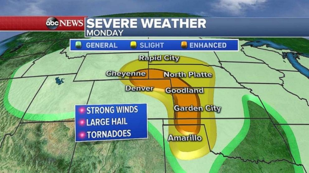 Strong winds, hail and tornadoes are possible in the Great Plains on Monday.