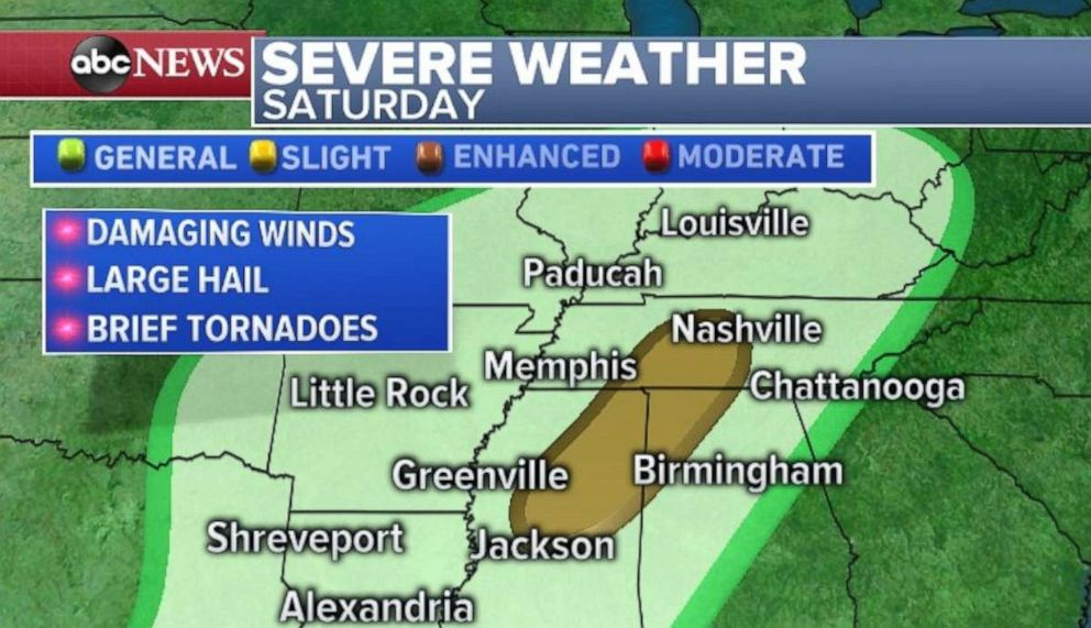 Damaging wind, hail and brief tornadoes are possible in the Tennessee River Valley on Saturday.