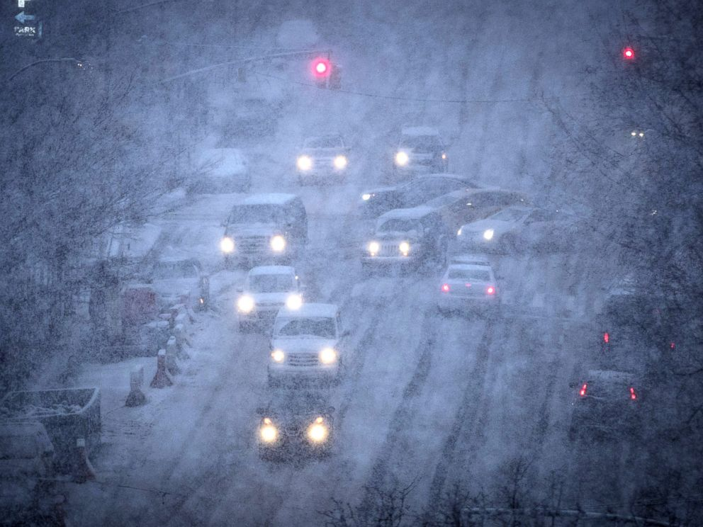 PHOTO: Vehicles navigate the road conditions on Atlantic Avenue in Brooklyn during a snowstorm, March 7, 2018, in New York City.