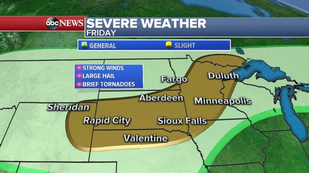 The light risk area saw strong winds and big hail on Friday.