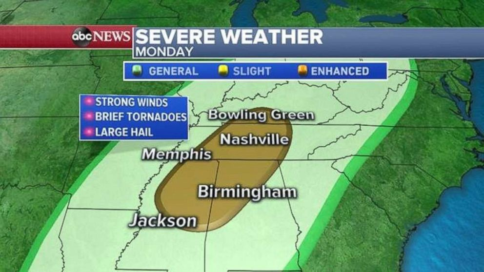 PHOTO: Severe weather is possible in norther Mississippi and Alabama as well as central Tennessee.